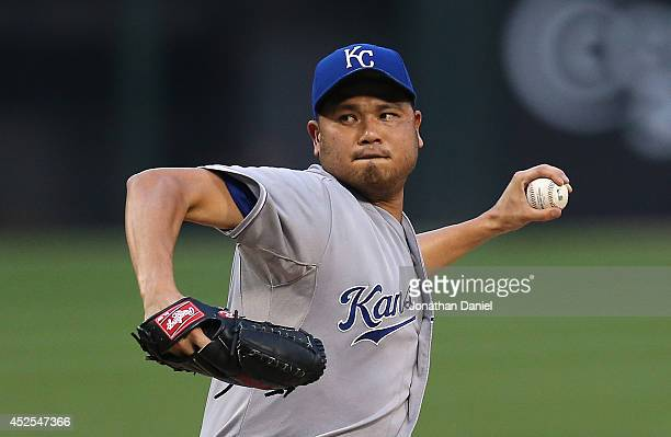 Starting pitcher Bruce Chen of the Kansas City Royals delivers the ball against the Chicago White Sox at US Cellular Field on July 22 2014 in Chicago...
