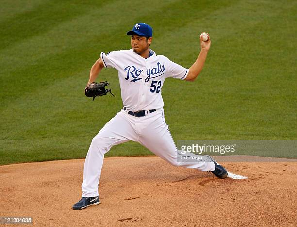 Starting pitcher Bruce Chen of the Kansas City Royals throws against the New York Yankees in the first inning at Kauffman Stadium on August 17 2011...