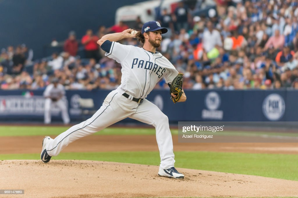 Starting pitcher Bryan Mitchell #50 of San Diego Padres pitches in the first inning during the MLB game against the Los Angeles Dodgers on May 5, 2018 at Estadio de Beisbol Monterrey in Monterrey, Mexico. Padres defeated the Dodgers 7-4.