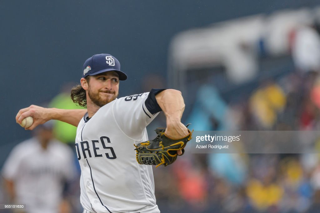 Starting pitcher Bryan Mitchell #50 of San Diego Padres pitches in the second inning during the MLB game against the Los Angeles Dodgers at Estadio de Beisbol Monterrey on May 5, 2018 in Monterrey, Mexico. Padres defeated the Dodgers 7-4.