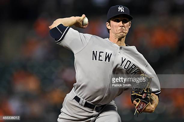 Starting pitcher Bryan Mitchell of the New York Yankees works the first inning against the Baltimore Orioles during game two of a doubleheader at...