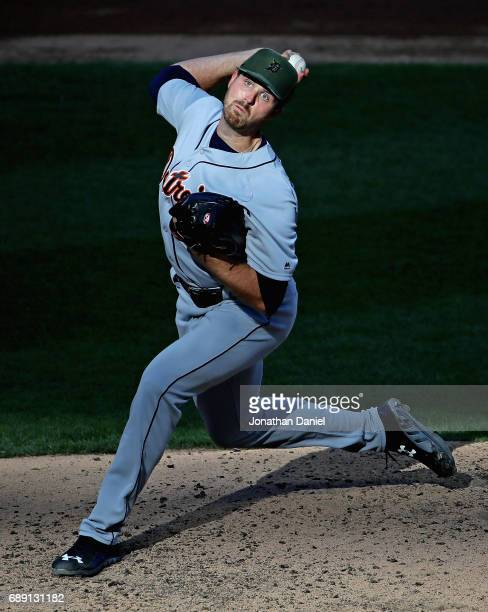 Starting pitcher Buck Farmer of the Detroit Tigers delivers the ball against the Chicago White Sox in game two at Guaranteed Rate Field on May 27...