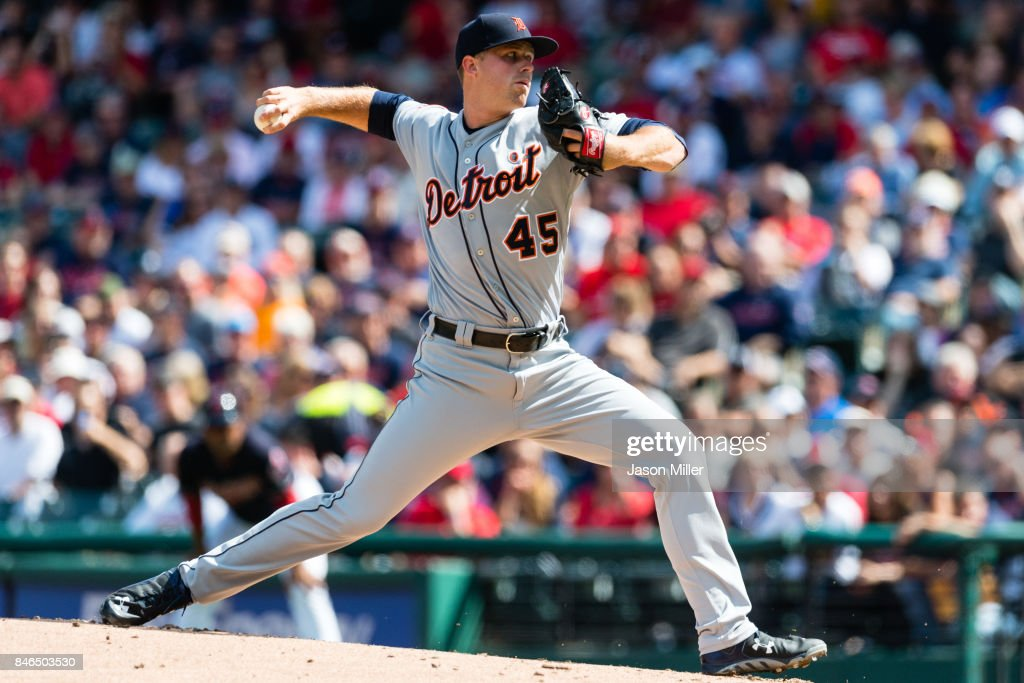Starting pitcher Buck Farmer #45 of the Detroit Tigers pitches during the first inning against the Cleveland Indians at Progressive Field on September 13, 2017 in Cleveland, Ohio.