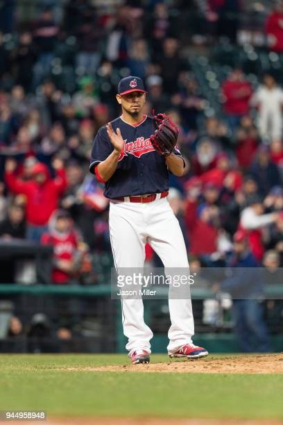 Starting pitcher Carlos Carrasco of the Cleveland Indians celebrates after the last out as the Indians defeat the Detroit Tigers at Progressive Field...