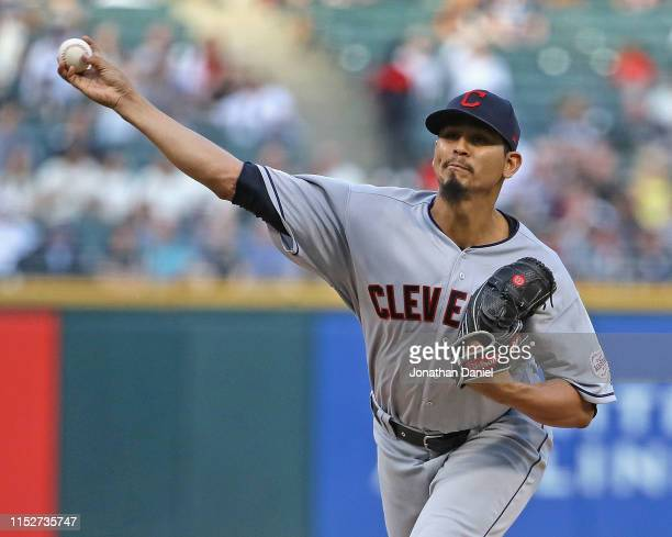 Starting pitcher Carlos Carrasco of the Cleveland Indians delivers the ball against the Chicago White Sox at Guaranteed Rate Field on May 30, 2019 in...
