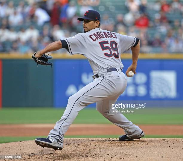 Starting pitcher Carlos Carrasco of the Cleveland Indians delivers the ball against the Chicago White Sox at Guaranteed Rate Field on May 30 2019 in...