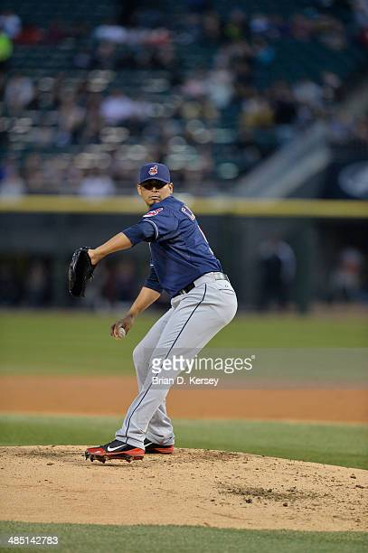 Starting pitcher Carlos Carrasco of the Cleveland Indians delivers during the first inning against the Chicago White Sox at US Cellular Field on...
