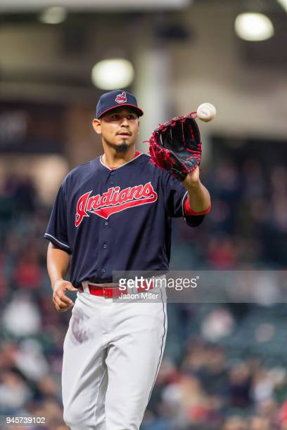 Starting pitcher Carlos Carrasco of the Cleveland Indians on the mound during the ninth inning against the Detroit Tigers at Progressive Field on...