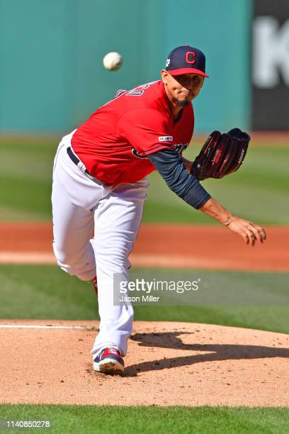Starting pitcher Carlos Carrasco of the Cleveland Indians pitches during the first inning against the Toronto Blue Jays at Progressive Field on April...