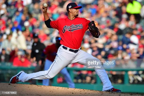 Starting pitcher Carlos Carrasco of the Cleveland Indians pitches during the fifth inning against the Toronto Blue Jays at Progressive Field on April...
