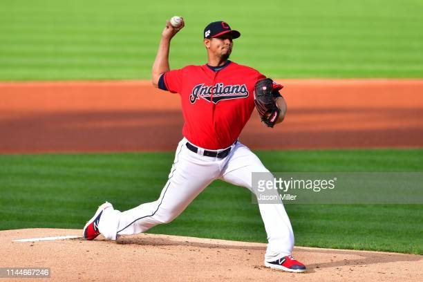 Starting pitcher Carlos Carrasco of the Cleveland Indians pitches during the first inning against the Miami Marlins at Progressive Field on April 23...