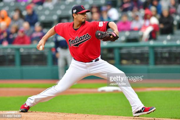Starting pitcher Carlos Carrasco of the Cleveland Indians pitches during the first inning against the Seattle Mariners at Progressive Field on May 04...