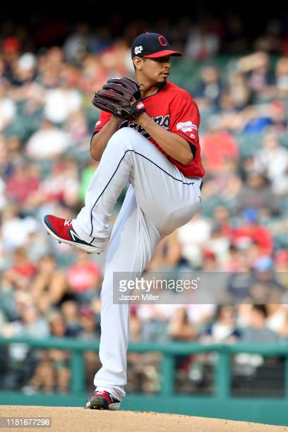 Starting pitcher Carlos Carrasco of the Cleveland Indians pitches during the first inning against the Tampa Bay Rays at Progressive Field on May 25,...