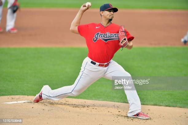 Starting pitcher Carlos Carrasco of the Cleveland Indians pitches during the first inning against the Milwaukee Brewers at Progressive Field on...