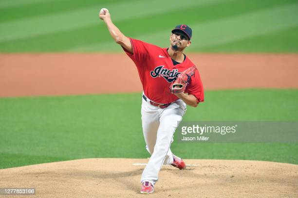 Starting pitcher Carlos Carrasco of the Cleveland Indians pitches during the first inning of Game Two of the American League Wild Card Series against...