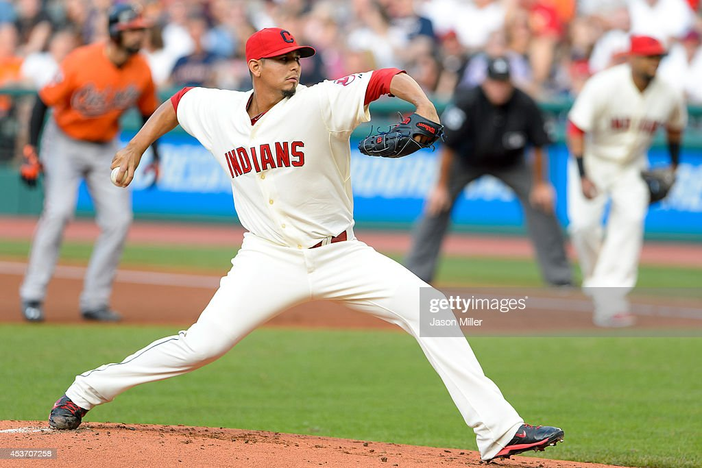Starting pitcher Carlos Carrasco #59 of the Cleveland Indians pitches during the first inning against the Baltimore Orioles at Progressive Field on August 16, 2014 in Cleveland, Ohio.