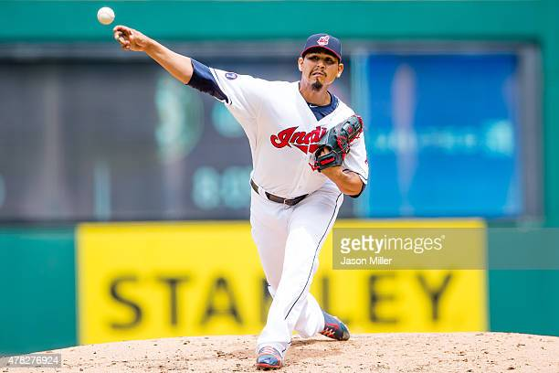 Starting pitcher Carlos Carrasco of the Cleveland Indians pitches during the second inning against the Detroit Tigers at Progressive Field on June 24...