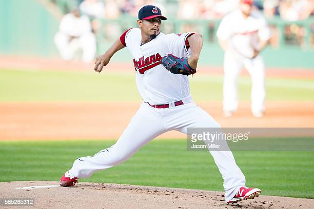 Starting pitcher Carlos Carrasco of the Cleveland Indians pitches during the first inning against the Minnesota Twins at Progressive Field on August...