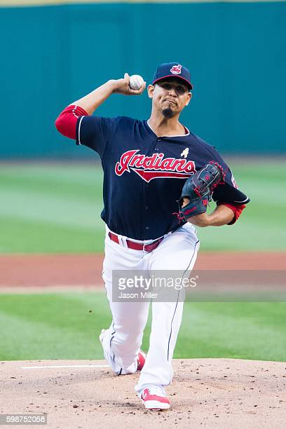 Starting pitcher Carlos Carrasco of the Cleveland Indians pitches during the first inning against the Miami Marlins during an interleague game at...