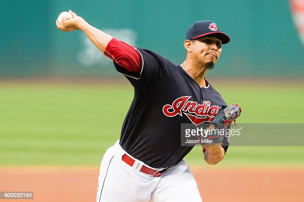 Starting pitcher Carlos Carrasco of the Cleveland Indians pitches during the first inning against the Houston Astros at Progressive Field on...