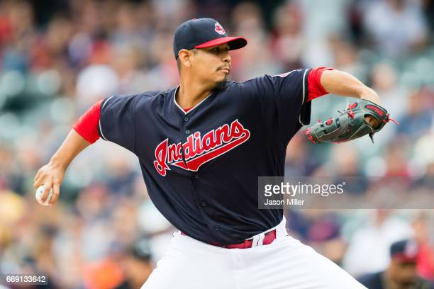 Starting pitcher Carlos Carrasco of the Cleveland Indians pitches during the first inning against the Detroit Tigers at Progressive Field on April 16...