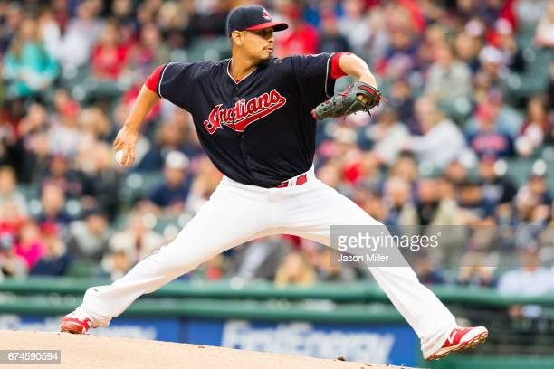 Starting pitcher Carlos Carrasco of the Cleveland Indians pitches during the first inning against the Seattle Mariners at Progressive Field on April...