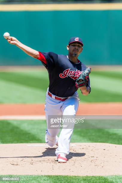 Starting pitcher Carlos Carrasco of the Cleveland Indians pitches during the first inning against the Chicago White Sox at Progressive Field on June...