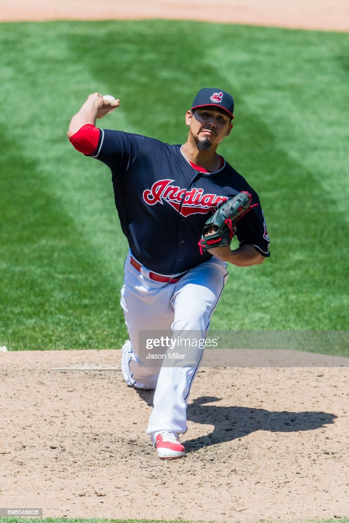 Starting pitcher Carlos Carrasco #59 of the Cleveland Indians pitches during the fifth inning against the Chicago White Sox at Progressive Field on June 11, 2017 in Cleveland, Ohio.