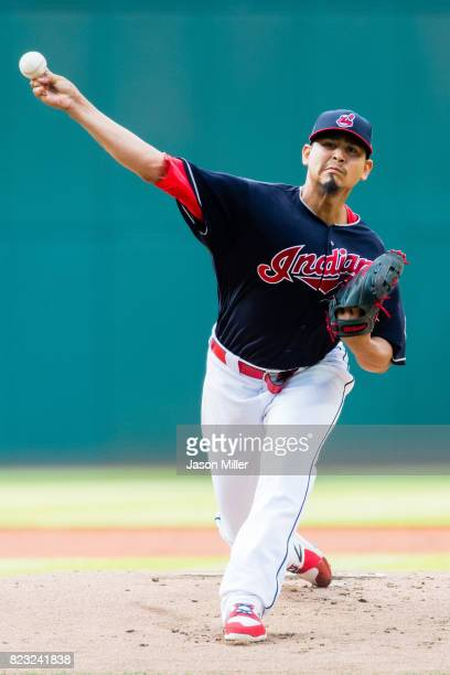 Starting pitcher Carlos Carrasco of the Cleveland Indians pitches during the first inning against the Los Angeles Angels of Anaheim at Progressive...