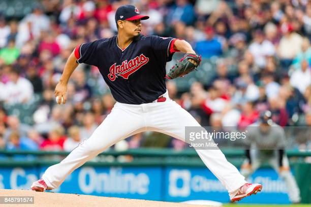 Starting pitcher Carlos Carrasco of the Cleveland Indians pitches during the first inning against the Detroit Tigers at Progressive Field on...
