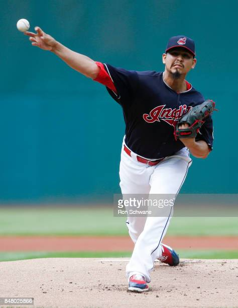 Starting pitcher Carlos Carrasco of the Cleveland Indians pitches against the Kansas City Royals during the first inning at Progressive Field on...