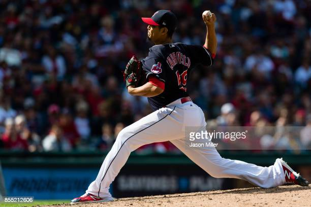 Starting pitcher Carlos Carrasco of the Cleveland Indians pitches during the ninth inning against the Minnesota Twins at Progressive Field on...