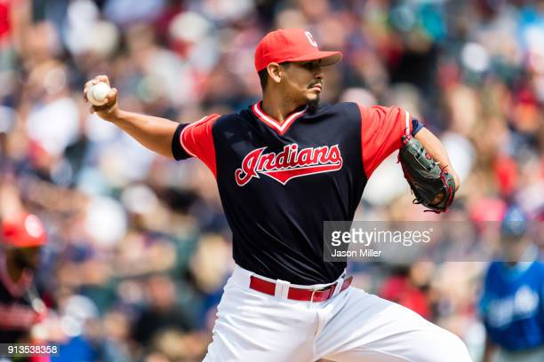 Starting pitcher Carlos Carrasco of the Cleveland Indians pitches during the fourth inning against the Kansas City Royals at Progressive Field on...