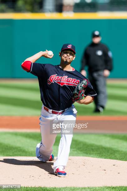 Starting pitcher Carlos Carrasco of the Cleveland Indians pitches during the first inning against the Minnesota Twins at Progressive Field on...