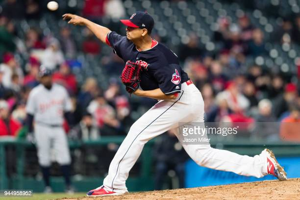 Starting pitcher Carlos Carrasco of the Cleveland Indians pitches during the ninth inning against the Detroit Tigers at Progressive Field on April 11...