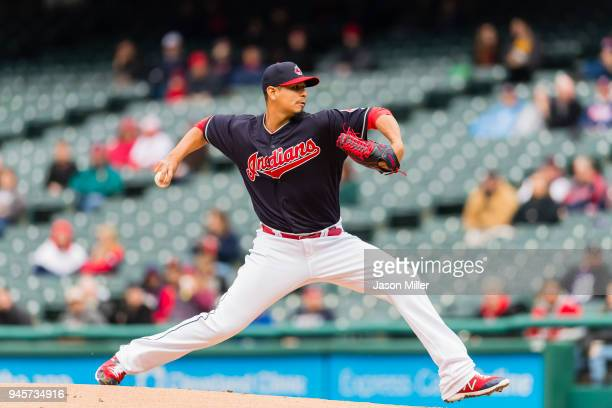 Starting pitcher Carlos Carrasco of the Cleveland Indians pitches during the first inning against the Detroit Tigers at Progressive Field on April 11...