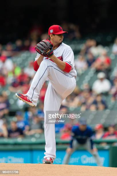 Starting pitcher Carlos Carrasco of the Cleveland Indians pitches during the first inning against the Toronto Blue Jays at Progressive Field on May 3...