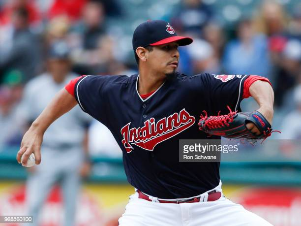 Starting pitcher Carlos Carrasco of the Cleveland Indians pitches against the Milwaukee Brewers during the second inning at Progressive Field on June...