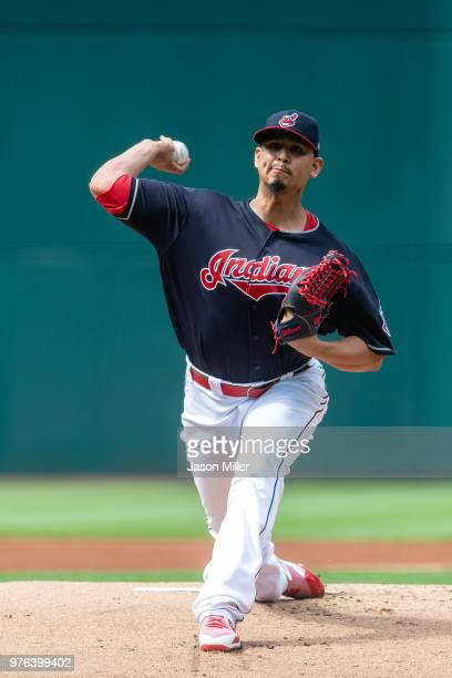Starting pitcher Carlos Carrasco of the Cleveland Indians pitches during the first inning against the Minnesota Twins at Progressive Field on June 16...