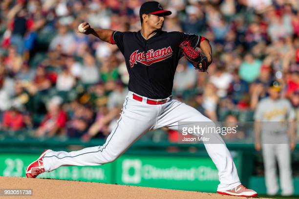 Starting pitcher Carlos Carrasco of the Cleveland Indians pitches during the first inning against the Oakland Athletics at Progressive Field on July...