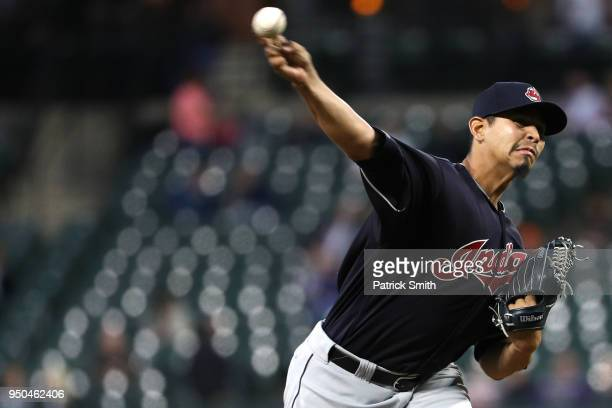Starting pitcher Carlos Carrasco of the Cleveland Indians works the third inning against the Baltimore Orioles at Oriole Park at Camden Yards on...