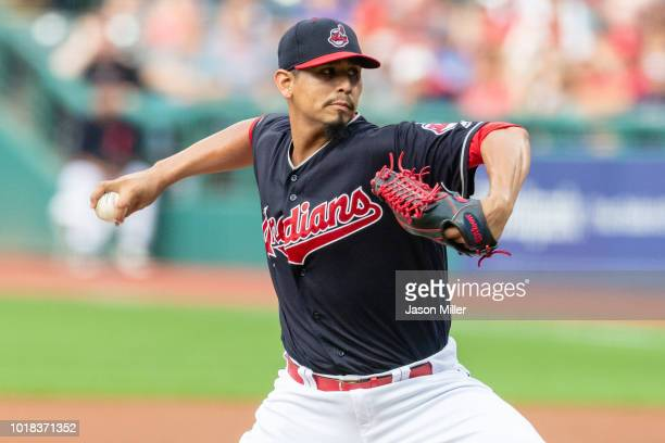 Starting pitcher Carlos Carrasco pitches during the first inning against the Baltimore Orioles at Progressive Field on August 17 2018 in Cleveland...