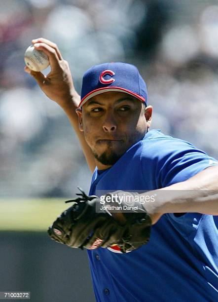 Starting pitcher Carlos Zambrano of the Chicago Cubs delivers the ball against the Chicago White Sox May 21 2006 at US Cellular Field in Chicago...