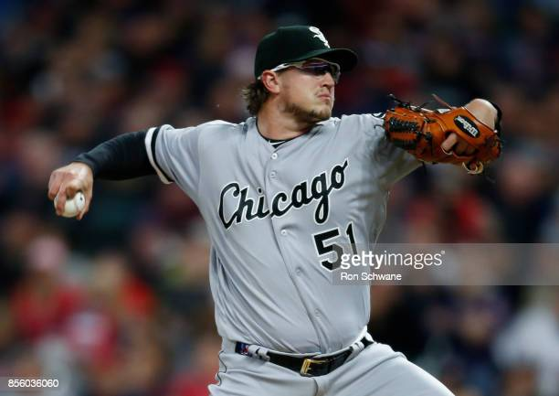 Starting pitcher Carson Fulmer of the Chicago White Sox pitches against the Cleveland Indians during the first inning at Progressive Field on...