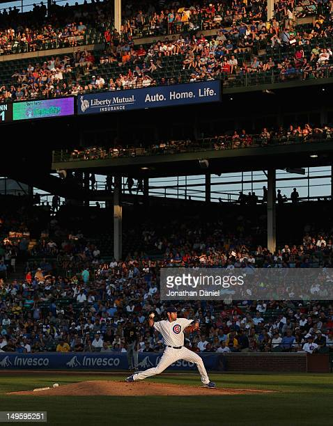 Starting pitcher Casey Coleman of the Chicago Cubs delivers the ball against the Pittsburgh Pirates at Wrigley Field on July 31, 2012 in Chicago,...