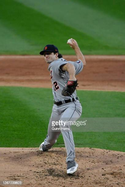Starting pitcher Casey Mize of the Detroit Tigers delivers the baseball in his MLB debut against the Chicago White Sox at Guaranteed Rate Field on...