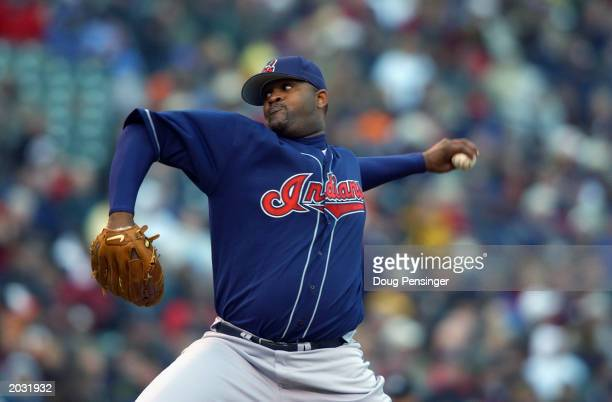 Starting pitcher CC Sabathia of the Cleveland Indians delivers a pitch as the Baltimore Orioles defeated the Cleveland Indians 65 in 13 innings in an...