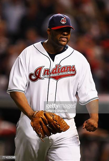 Starting pitcher CC Sabathia of the Cleveland Indians reacts after getting Julio Lugo of the Boston Red Sox to ground into an inning ending double...