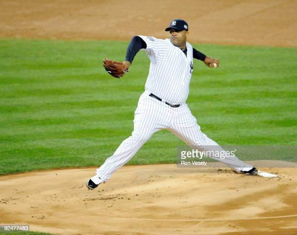 Starting pitcher CC Sabathia of the New York Yankees pitches during Game 1 of the 2009 World Series between the Philadelphia Phillies and the New...
