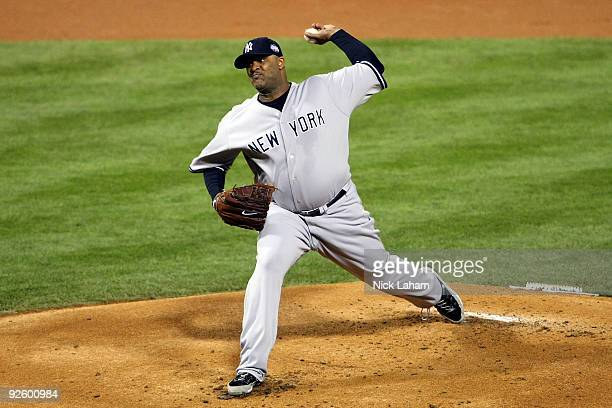 Starting pitcher CC Sabathia of the New York Yankees throws a pitch against the Philadelphia Phillies in Game Four of the 2009 MLB World Series at...